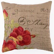 Embroidered Orange Rose Linen Throw Pillow