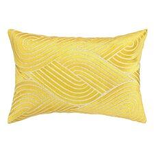 Osaka Waves Embroidered Decorative Linen Lumbar Pillow