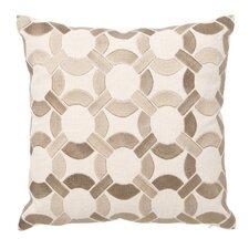 Embroidered Mod Link Linen Throw Pillow