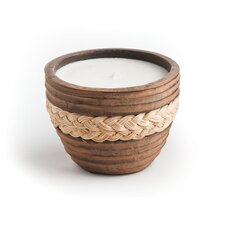 Small Brown Candle with Wicker Accent