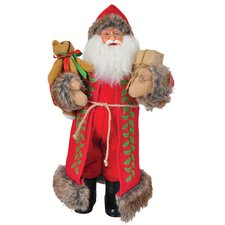 "15"" Burlap Holly Claus Figurine"