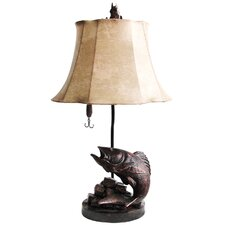 """Up From The Deep 25"""" H Table Lamp with Bell Shade"""