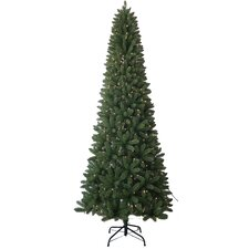 9' Slim Artificial Christmas Tree with 450 Pre-Lit White Lights