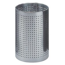 Cylindrical Steel Wastebasket with Square Perforated Holes