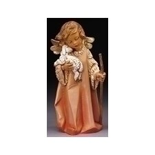 "8"" Woodtone Little Shepherd Angel with Lamb Figurine"