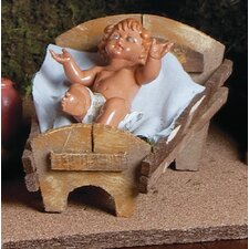 2 Piece Baby Jesus with Manger Figurine Set