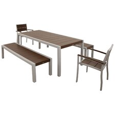 Trex Outdoor Surf City 5 Piece Bench Dining Set