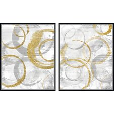 Golden Circles Giclee Print on Canvas (Set of 2)