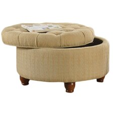 Round Button Upholstered Storage Ottoman