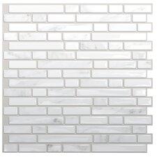 Self-Adhesive Metallic Mosaic Tile in White & Gray