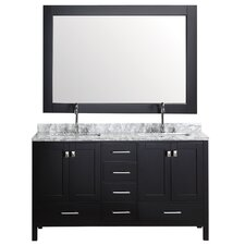 "London 60.75"" Double Bathroom Vanity Set with Mirror"