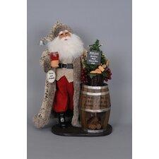 Christmas Lighted Wine Barrel Santa Figurine