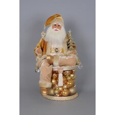 Christmas Lighted Golden Shine Santa Figurine