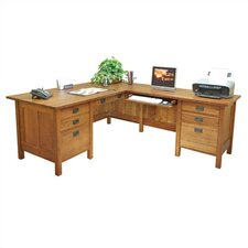 "Craftsman Home Office 72"" W Computer L-Computer Desk with Return"