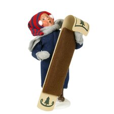 Snow Day Kid with Toboggan Figurine