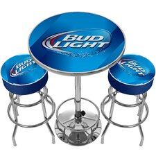 Ultimate Bud Light Game Room 3 Piece Pub Table Set