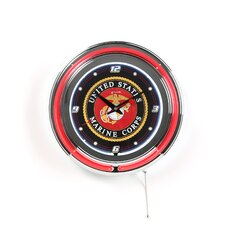 """United States Marine Corps 14.5"""" Double Ring Neon Wall Clock"""