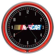 "NASCAR 14.5"" Double Ring Neon Wall Clock"