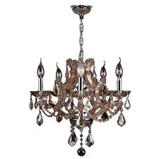 Lyre 5 Light Crystal Chandelier