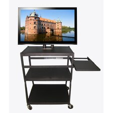 Flat Panel TV Cart with Side Pull Out Shelf