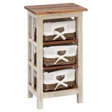 Antiqued Rattan 3 Drawer Chest