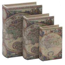 Wood Fabric 3 Piece Book Box Set