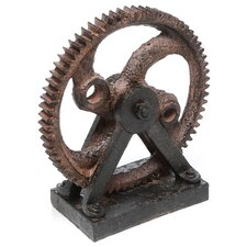 Industrial Style Rusted Gear Décor Sculpture