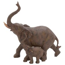 Trumpeting Mother and Baby African Elephant Figurine