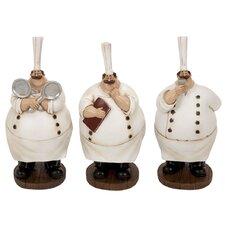 3 Piece Polystone Chef Figurine Set