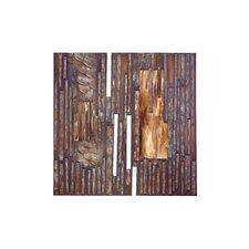Hidden Wood Metal Canvas in Brown
