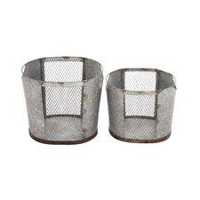 2 Piece Attractive Metal Wire Basket Set