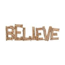 "Classy Driftwood ""Believe"" Letter Block Wall Décor"