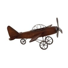Fascinating Styled Wood Metal Airplane Sculpture