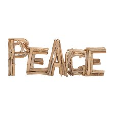 "Creative Styled Arty Driftwood ""Peace"" Letter Block Wall Décor"