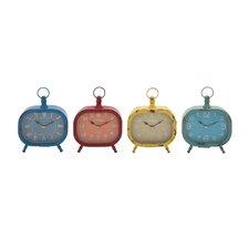 The Rectangular Metal Desk Clock Set (Set of 4)