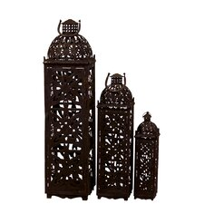 3 Piece Beautifully Open Carved Metal Rustic Lantern Set