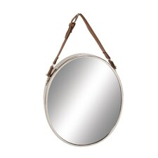 Customary Styled Stainless Steel Leather Wall Mirror