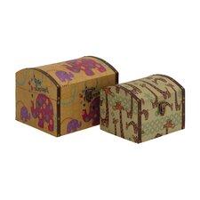 Mesmerizing 2 Piece Wood Canvas Box Set