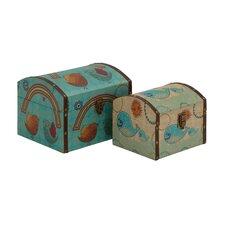 2 Piece Classy Wood Canvas Box Set