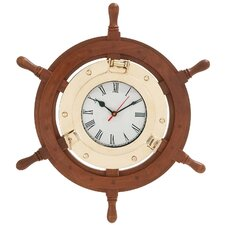 Beautiful Styled Wood Brass Ship Wheel Clock