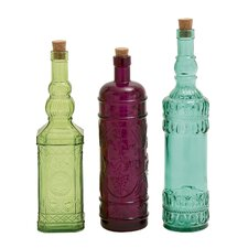 3 Piece Colorful Glass Stopper Bottle Set