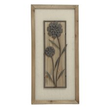 Floral Patterned Wood Metal Fabric Plaque Wall Decor