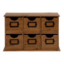 6-Drawer Miniature Wood Table File Cabinet