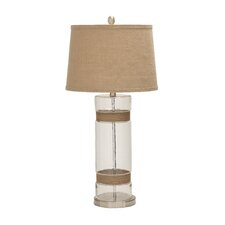 "Gorgeous and Elegant Glass Metal Jute 31"" H Table Lamp with Empire Shade"