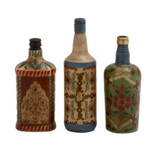 3 Piece Rare and Beautiful Glass Painted Bottle Set