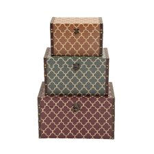 3 Piece Antique Themed Stylish Rectangular Wood Vinyl Box Set