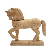 Classy Wood Carved Horse Statue