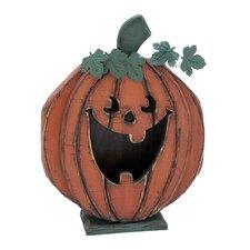 Wooden Carved Smiley Pumpkin Decor
