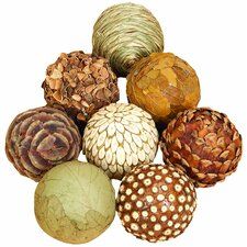 8 Piece Decorative Bamboo Ball Sculpture Set