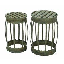 2 Piece Barrel Bar Stool Set